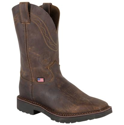 Justin Mens Crazyhorse Square Toe Work Boot