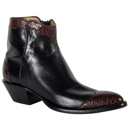 Lucchese Classic Womens Calfskin Leather Boots with Crocodile Cap Toe