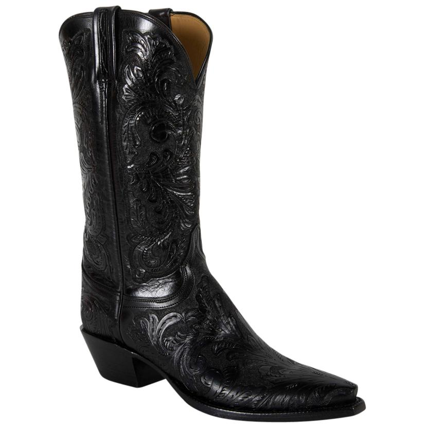 Lucchese Classic Women's Black Floral Hand Tooled Cowgirl Boots
