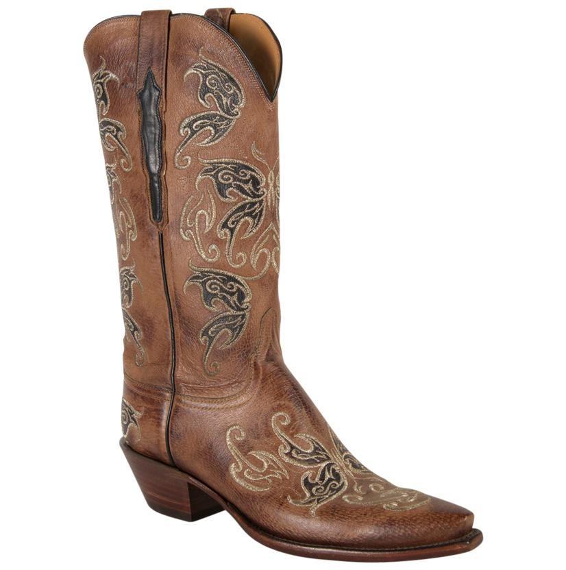 Lucchese Classic Womens Empress Nutmeg Burnished Pig Cowgirl Boots