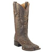 Lucchese Women's Resistol Ranch Cafe Glitter Calf w/ Gold Matte Inlays Cowgirl Boots