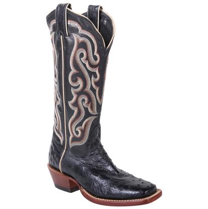 Nocona Womens Black Full Quill Ostrich Boots