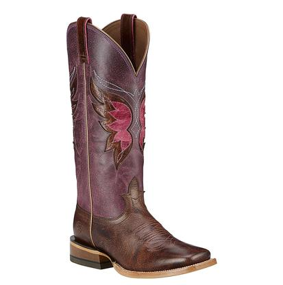 Ariat Womens Mariposa Weathered Buckskin And Sangria Boots