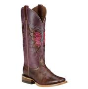 Ariat Women's Mariposa Weathered Buckskin and Sangria Boots