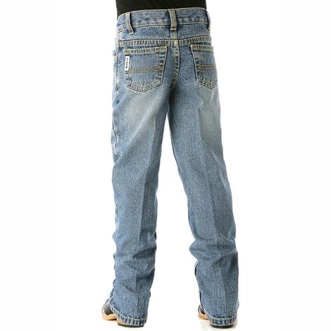 Cinch Boys White Label Slim Fit Traditional Rise Jean - Medium Stonewash