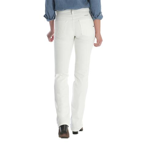 Wrangler Womens Q-Baby Mid-Rise Boot Cut Jeans - White