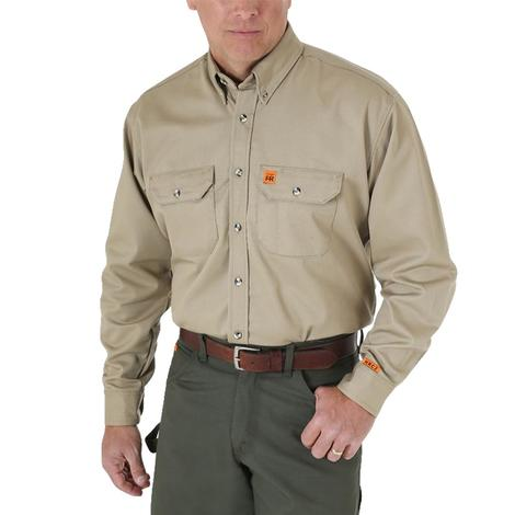 Wrangler Mens Riggs Flame Resistant Khaki Work Shirt