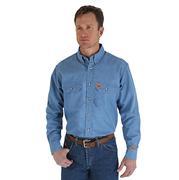 Wrangler Mens Riggs Flame Resistant Royal Blue Work Shirt