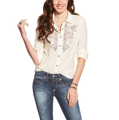 Ariat Womens Cream With Blue, Orange, And Cream Cross Stitch Embroidery Long Sleeves Western Snap Shirt