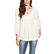 Ariat Women's Cream with Crochet Detailing 3/4 Sleeve Fashion Top