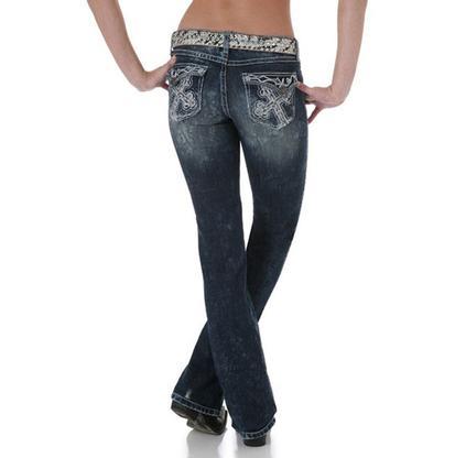 Wrangler Women's Rock 47 Ultra Low Rise Embellished Jean - Dark Wash