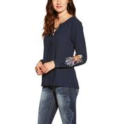 Ariat Women's Blush Navy Embroidered Long Sleeve Top