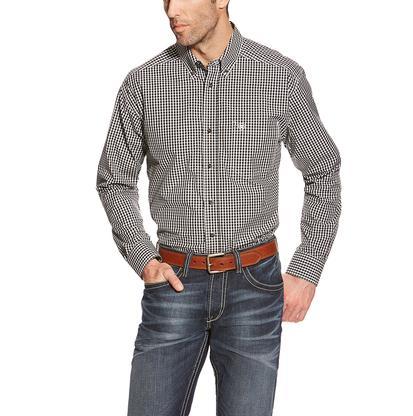 Ariat Mens Black And White Plaid Long Sleeve Shirt