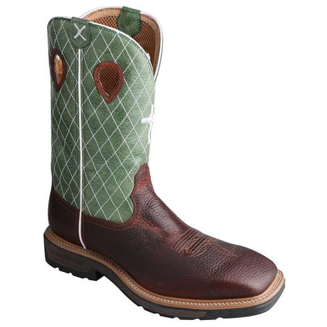 Twisted X Mens Steel Toe Green Cowboy Workboot