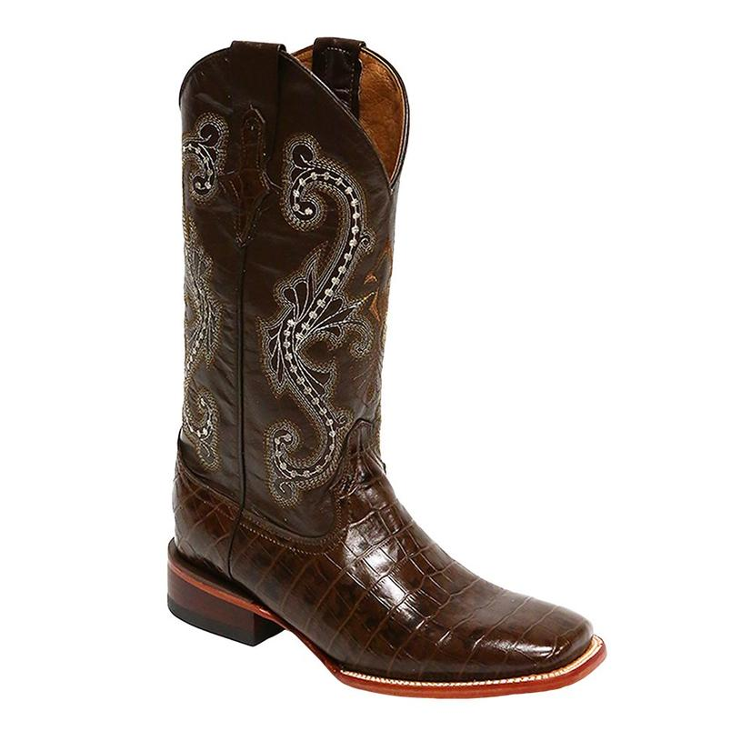 Ferrini Chocolate Alligator Belly Print Boots