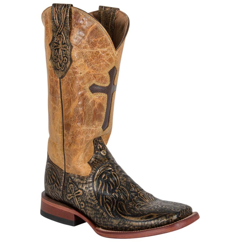 Ferrini Womens Golden Embossed Cross Womens Boots