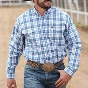 Cinch Mens Blue And White Plaid Double Pocket Western Shirt