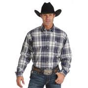 Cinch Mens Long Sleeve Plain Weave Plaid Button Shirt