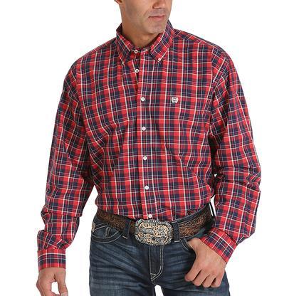 Cinch Mens Western Plaid Red Shirt