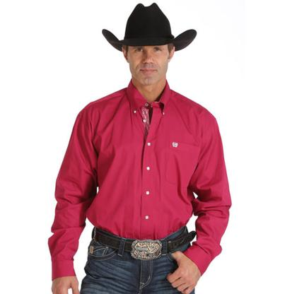 Cinch Mens Solid Square Button Long Sleeve Shirt