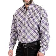 Cinch Men's Purple & Gray Plaid Button Front Shirt
