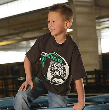 Cinch Boys Brown Short Sleeve Graphic T- Shirt