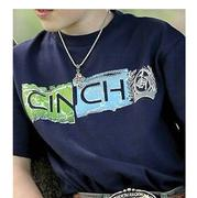 Cinch Boys' Short Sleeve Logo Navy Youth Tee
