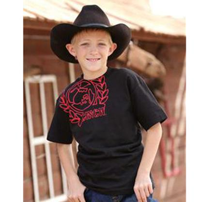 Cinch Boys Short Sleeve Black/Red Logo T- Shirt