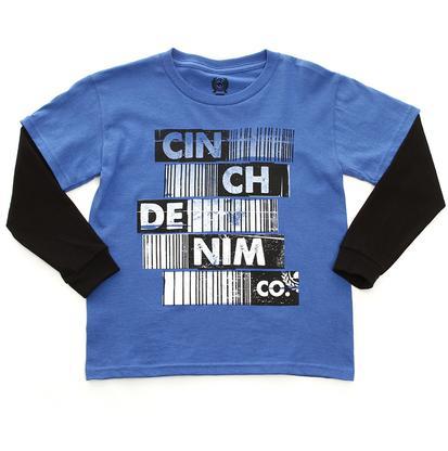 Cinch Boys Long Sleeve Layered Blue Logo Tee
