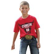 Cinch Boys' Red Cinch Denim Short Sleeve Shirt