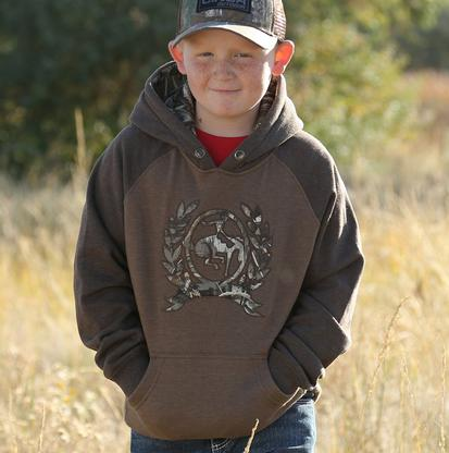 Cinch Western Boys Heather Brown Hooded Sweatshirt