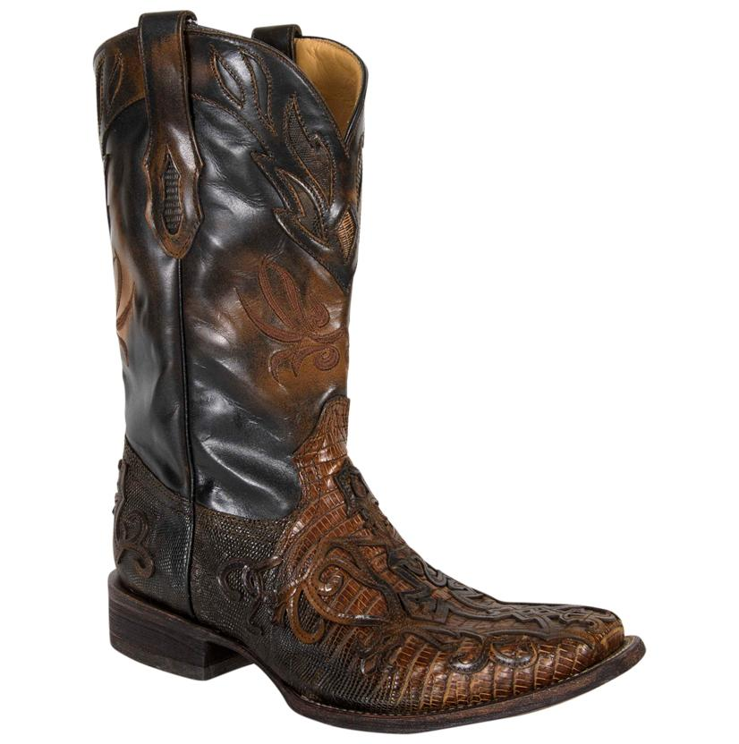 Corral Men's Cognac Teju Lizard Inlay Square Toe Boots