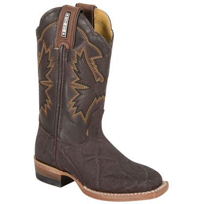 Cinch Western Boys' Leather Elephant Print Chocolate Boot