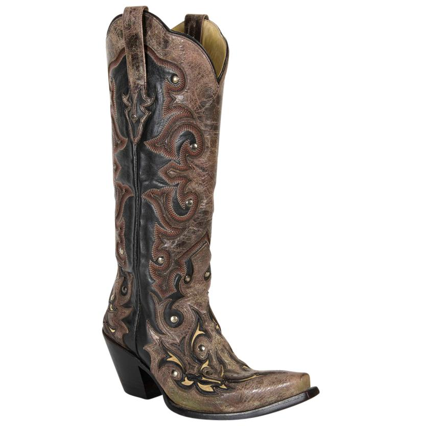 Corral Women's Tall Black & Brown Cowgirl Boots W/Studs & Cream Inlays