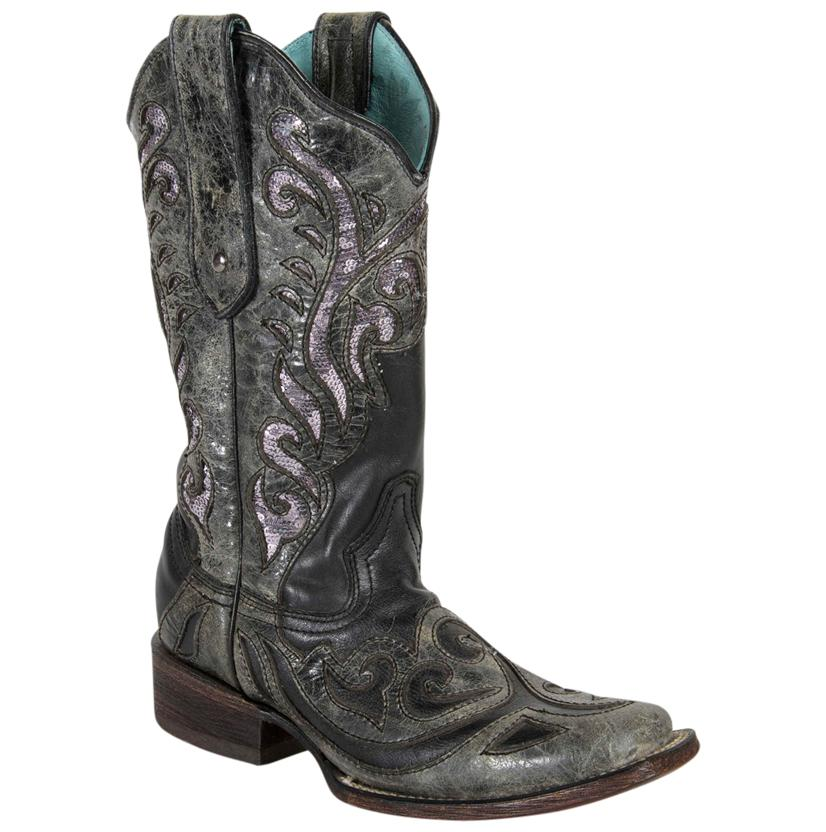 Corral Womens Black And Sequin Rock Quarry Inlay Boots