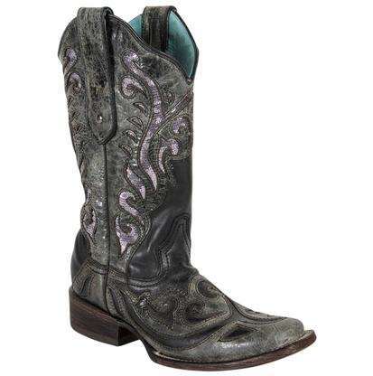 Corral Women's Black and Sequin Rock Quarry Inlay Boots