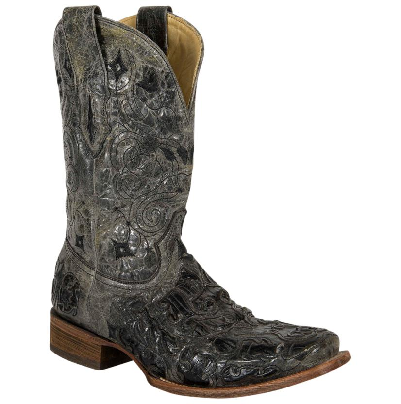 Corral Mens Black Caiman Belly Laser Inlay Boots