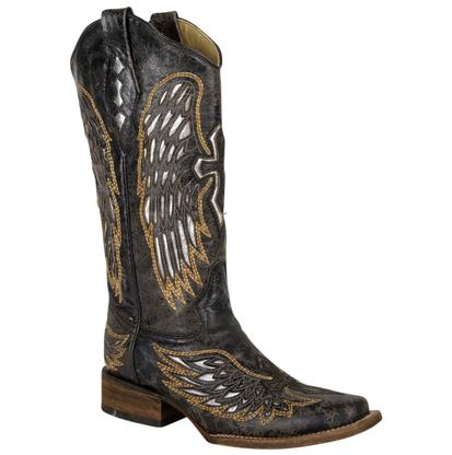 Corral Women's Black, Silver, Gold Wing & Cross Boots