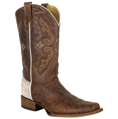 Corral Womens Brown White Shoulder Square Toe Boots