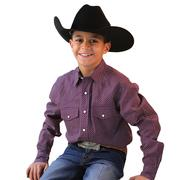 Cinch Boys Mini Patterned Long Sleeve Shirt