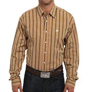 Cinch Mens Brown Stripe Button Long Sleeve Shirt