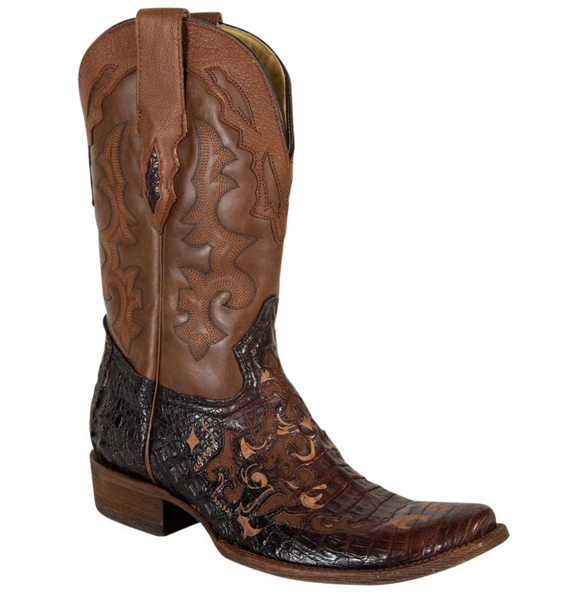Corral Mens Black Bronze Tan Caiman Belly Inlay Boots