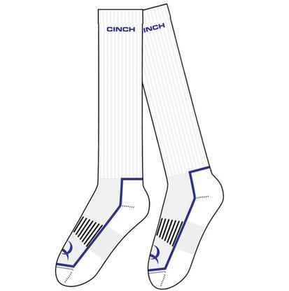 Cinch Men's White and Navy Boot Socks