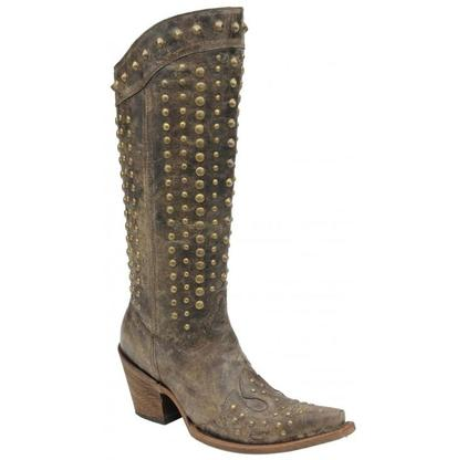 Corral Women's Chocolate Studded Tall Boots