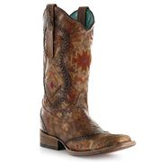 Corral Women's Ethnic Pattern and Whip Stitch Boot