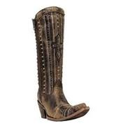 Women's Corral Crystal Cross Stripes and Studs Boots