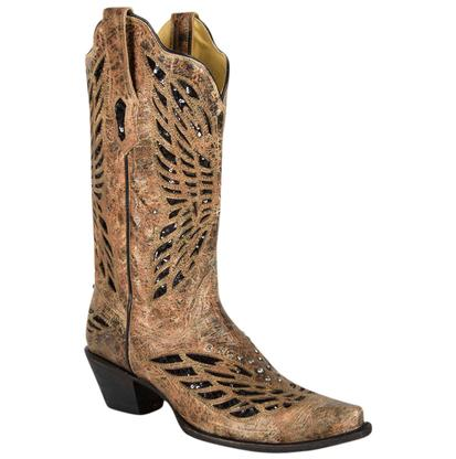Corral Women's Bronze Black Sequin & Crystal Butterfly Boots