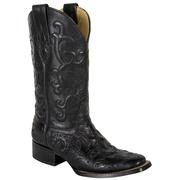 Corral Women's Black Tooled Vamp & Flower Stitch Western Boots