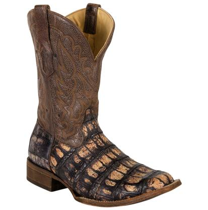 Corral Men's Crackle Caiman Square Toe Boots