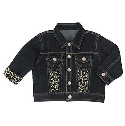 Wrangler Baby Girl Denim Jacket with Animal Print Accents